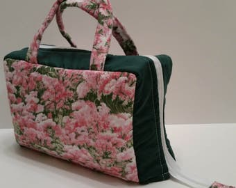 Pink Flower Garden  Lunch Tote Opening Into a Tray.