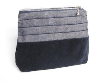 Black pouch, cosmetic bag, stripe bag, eco bag, velvet bag. Eco friendly, organic cotton velvet & organic cotton, zipper pouch,free shipping