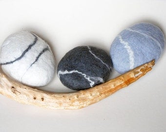 Felted stone decor, natural home decor, eco friendly gift, ornament, felted decor, gift set, river rock, pure wool, pebble set x 3.