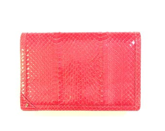 Jay Herbert new york 80s red snakeskin clutch/satchel purse- red snakeskin80s neiman marcus