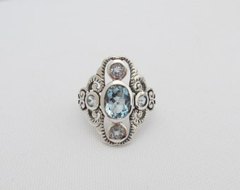 Vintage Sterling Silver Natural Aquamarine Filigree Ring Size 8