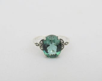 Vintage Sterling Silver Emerald & Seed Pearl Ring Size 9