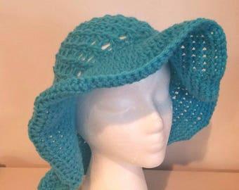 Turquoise crochet sunhat