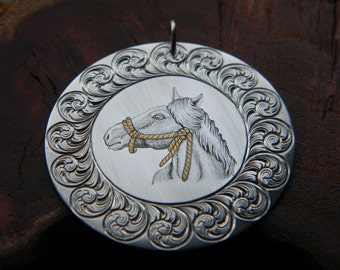 Hand-Engraved Sterling Silver Horse Pendant with Gold Inlay Rope Bridle