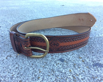 Vintage Embossed Brown Leather Belt With Brass Buckle