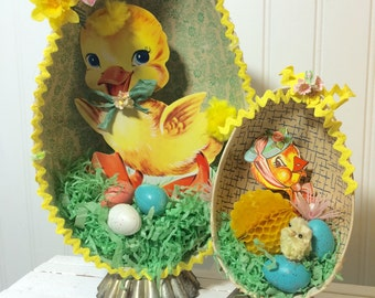 Large Easter Art  Diorama made with vintage materials