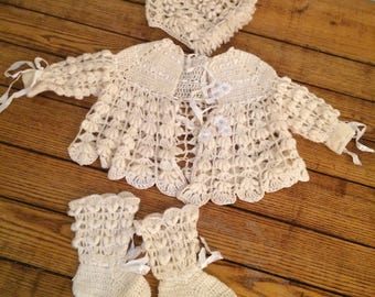 Antique Baby Sweater Set Knit/Crochet