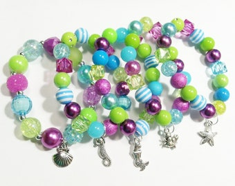 Under the sea or Mermaid party favor bracelets with special birthday girl bracelet