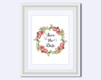 Save the Date - pink roses - printable art - Wedding printable - wedding reminder - bridal shower print- instant download - DIY printable