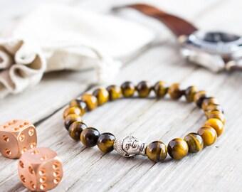 8mm - Tiger eye stone beaded silver Buddha head stretchy bracelet, yoga bracelet, mens bracelet, womens bracelet, gemstone bracelet