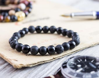 8mm - Matte black onyx, shiny onyx and lava stone beaded stretchy bracelet, made to order yoga bracelet, mens bracelet, womens bracelet