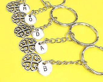 Best friends keychain - set of five, bff charm, 5 bff keychain, set of 5 best friend,customized keychain,monogram,initial keychain, bff gift