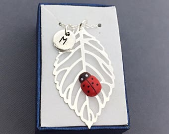 Silver Leaf Lady Bug Necklace, Good luck Gift, Custom Bug Necklace, Lady Bug Charm, Good Luck Jewelry Gift, Personalized, Lady Bug, Nature