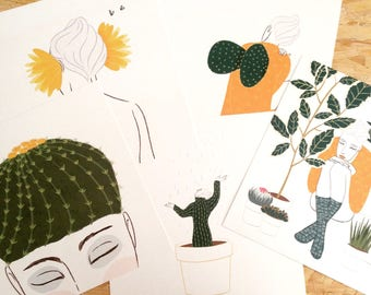 """Five Illustrated Prints """"Symbiosis"""" Cactus woman subject"""