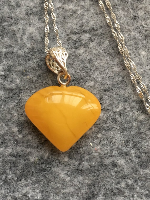 Antique natural honey amber heart with silver chain