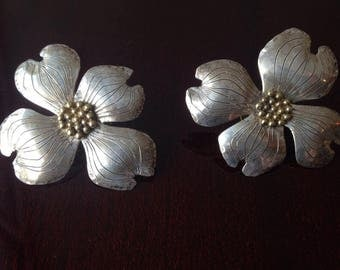 Silver FLOWER EARRINGS Large Cherry Blossoms