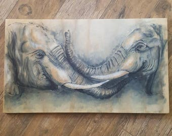 Two Elephants Ink Drawing