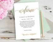 Wedding Welcome Bag Note, Gold, Wedding, Calligraphy, Welcome Bag Letter, Printable Itinerary, Agenda, Instant Download | 4x6"