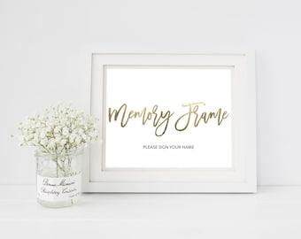 Wedding Sign Template   Memory Frame Sign   Wedding Sign   Printable Wedding Sign   5x7 & 8x10   EDN 5449
