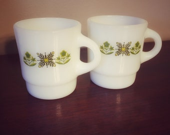 Vintage Anchor Hocking / Fire King Meadow Green Mugs - 2