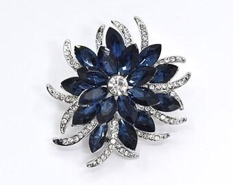 Navy Blue Crystal Brooch Wedding Accessories Bridal Brooch bouquet  Bridesmaid Dress DIY Crafts