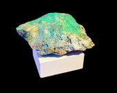 Turquoise Blue Chysocolla Specimen Mounted on a Custom Made Concrete Sculpture Stand