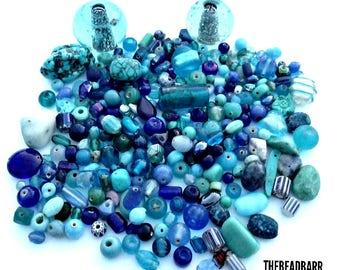 Glass Bead Mixed Lot, Destash lot, 11oz, Mixed Material, Gemstones,Howlite, Turquoise,Chevron beads, Lampwork, Stones,Jewelry Making supply