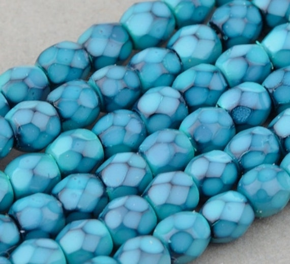 Czech Glass Beads - Round Faceted Beads - Fire Polished Beads - Turquoise Opaque with Jet Honeycomb - 3mm - 50 Beads