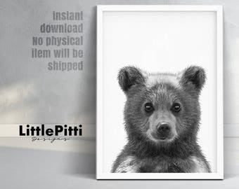 Baby bear cub print, woodlands decor, baby bear photo, cute baby animal, little bear print, kids room printable, digital download printable