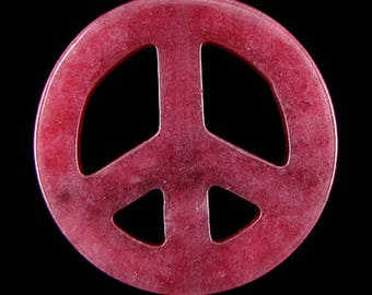45mm red jade peace sign coin disc pendant bead 14186