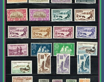 St Pierre et Miquelon - Group of 25 All Different Stamps