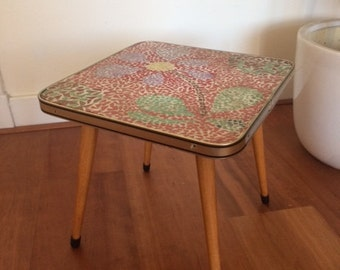 Vintage side table / plant stand / coffee table / flower stool / retro mid century / mosaic