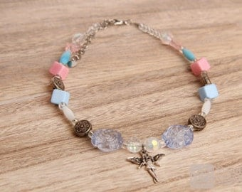 Girl's necklace in pastel colours with angel