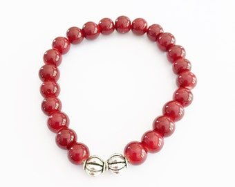Red Glass Beaded Stretch Bracelet