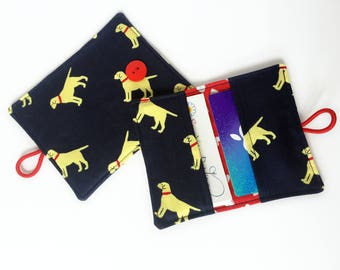 Card Wallet - Card Holder - Yellow Labs on Navy - Fabric Card Holder - Card Holder Wallet - Business Card Holder - Credit Card Holder