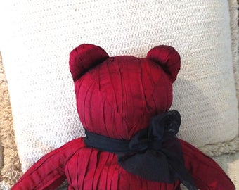 Pleated Burgundy Silk Shantung, Black Tulle scarf, Homemade Bear, Decorator Bear