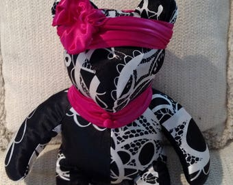 Fully-lined Black/White Bear with Pink sash and headband, Decorator Bear, Homemade Bear