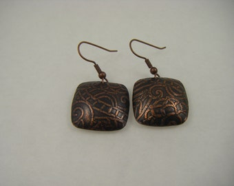Small Copper Pressed Earrings