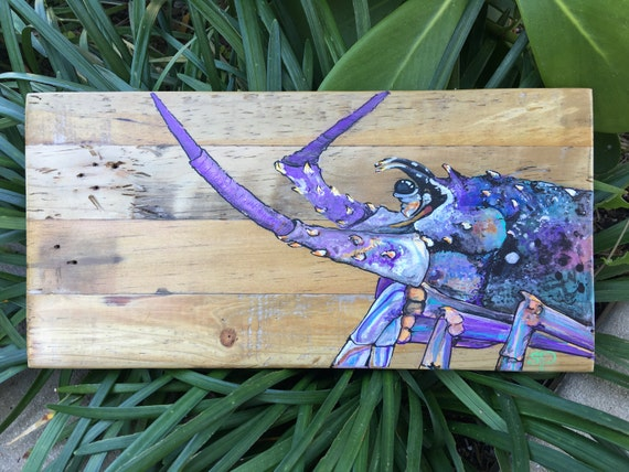 Spiny Lobster Hand Painted Stash Box Made From Retired Lobster Trap Wood Is The Perfect Gift For The Angler In Your Life