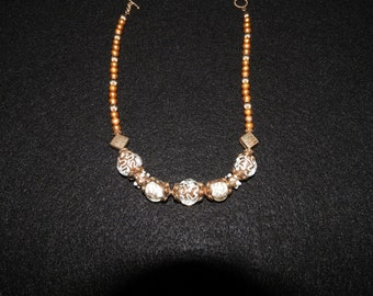 Clear Glass bead 17 in necklace