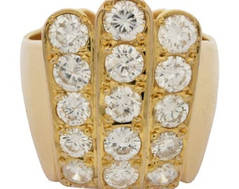 Diamond 18KT Yellow Gold Ring with a Bright Polish Finish