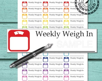 Scale Planner Stickers   Download Planner Stickers Weekly Weight In   Printable Planner Stickers   Instant Download (ni70A)