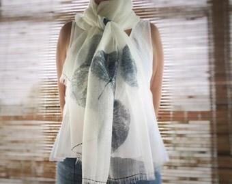 Indigo Silk Linen Shawl - Hand Stitching. Hand printed shawl, handmade eco scarf, indigo shawl, eco friendly, women's shawl, mbpblue