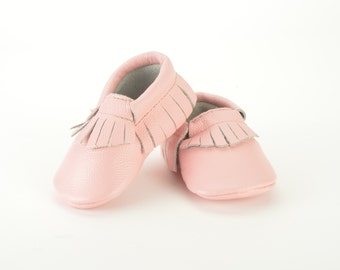 Bubblegum Rose pink leather baby moccasins handmade Adorable 0-3 months 3-6 months 6-12, 12-18 months baby shoes