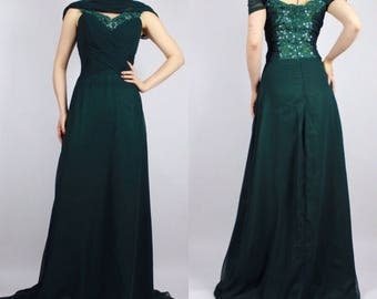 90's Emerald Green Sequined Bust Princess Gown