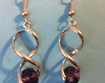 Purple and silver bead earrings   D30