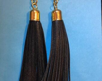Long and Bold Gold Black Tassell Earrings   J63