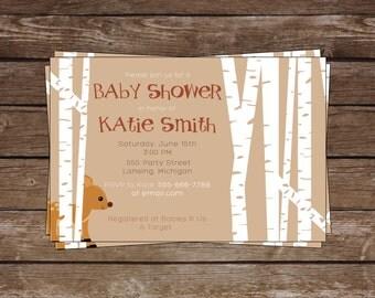 Baby Shower Invitation, Woodland Invitation, Forest Shower Invite, Deer Invitation, Baby Shower, Personalize, 4x6, 5x7