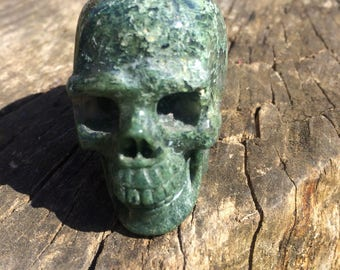 Natural Green Moss Agate Crystal Skull