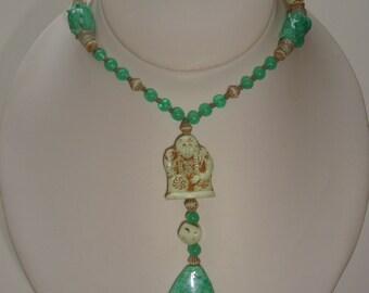 Tibetan Buddha Glass Beaded Necklace with Pendant